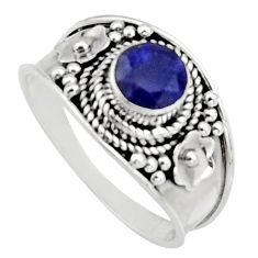 0.86cts natural blue sapphire 925 sterling silver solitaire ring size 8 r16192