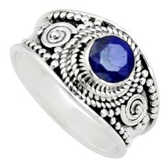 925 sterling silver 0.93cts natural blue sapphire solitaire ring size 7 r16193