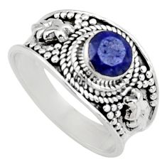 0.94cts natural blue sapphire 925 sterling silver solitaire ring size 7 r16196