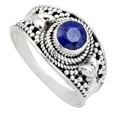 0.94cts natural blue sapphire 925 sterling silver solitaire ring size 9 r16197