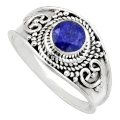 925 sterling silver 0.81cts natural blue sapphire solitaire ring size 9 r16198
