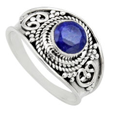 0.81cts natural blue sapphire 925 sterling silver solitaire ring size 7 r16199