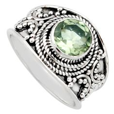 2.46cts natural green amethyst 925 sterling silver solitaire ring size 7 r16202