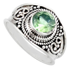2.21cts natural green amethyst 925 silver solitaire ring size 7.5 r16203