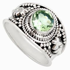 925 sterling silver 2.58cts natural green amethyst solitaire ring size 8 r16209