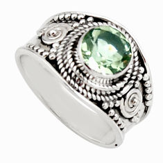 2.58cts natural green amethyst 925 silver solitaire ring jewelry size 7 r16216