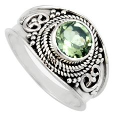 2.34cts natural green amethyst 925 silver solitaire ring jewelry size 8.5 r16219