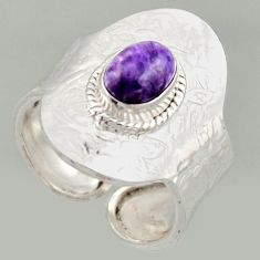 2.33cts natural purple charoite silver solitaire adjustable ring size 9 r16319