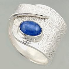 2.19cts natural blue kyanite 925 silver solitaire adjustable ring size 8 r16322