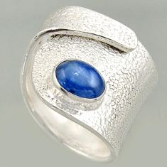 2.11cts natural blue kyanite silver solitaire adjustable ring size 7.5 r16327