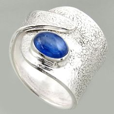 2.11cts natural kyanite 925 silver solitaire adjustable ring size 6.5 r16329