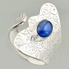 2.12cts natural blue kyanite 925 silver solitaire adjustable ring size 8 r16330