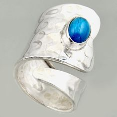 2.19cts natural apatite 925 silver solitaire adjustable ring size 7.5 r16333