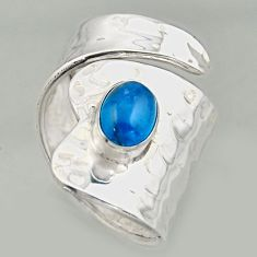 2.10cts natural blue apatite silver solitaire adjustable ring size 6.5 r16338