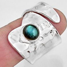 925 silver 2.46cts natural labradorite solitaire adjustable ring size 8.5 r16344