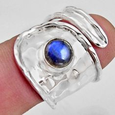 2.63cts natural labradorite 925 silver solitaire adjustable ring size 7 r16345
