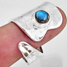 2.74cts natural labradorite 925 silver solitaire adjustable ring size 9 r16346