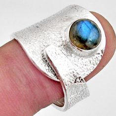 2.46cts natural labradorite 925 silver solitaire adjustable ring size 8 r16350