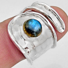 2.52cts natural labradorite 925 silver solitaire adjustable ring size 6.5 r16353