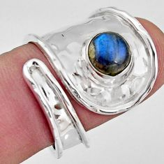 2.51cts natural labradorite 925 silver solitaire adjustable ring size 7 r16354
