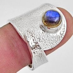925 silver 2.46cts natural labradorite solitaire adjustable ring size 7.5 r16357