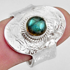 925 silver 2.46cts natural labradorite solitaire adjustable ring size 9.5 r16360