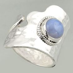 3.53cts natural lace agate 925 silver solitaire adjustable ring size 8.5 r16361