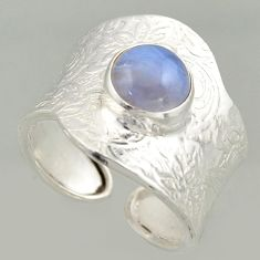 925 silver 3.39cts natural lace agate solitaire adjustable ring size 8 r16363