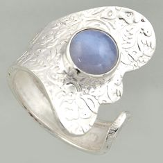 3.13cts natural blue lace agate silver solitaire adjustable ring size 8 r16364
