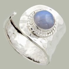925 silver 3.28cts natural lace agate solitaire adjustable ring size 8 r16368