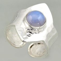 3.36cts natural blue lace agate silver solitaire adjustable ring size 8 r16370