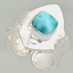 3.28cts natural blue larimar 925 silver solitaire adjustable ring size 9 r16381