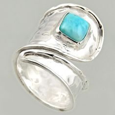 3.13cts natural blue larimar silver solitaire adjustable ring size 8.5 r16382