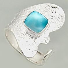 3.36cts natural blue larimar silver solitaire adjustable ring size 7.5 r16383