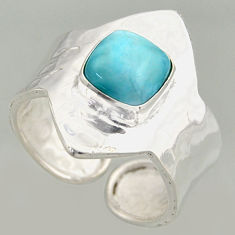 3.28cts natural blue larimar 925 silver solitaire adjustable ring size 9 r16385