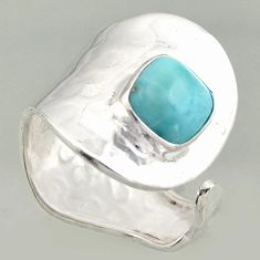 3.32cts natural blue larimar 925 silver solitaire adjustable ring size 8 r16386