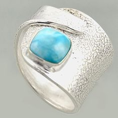 3.16cts natural blue larimar 925 silver solitaire adjustable ring size 8 r16387