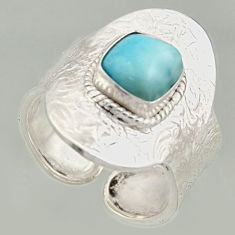 925 silver 3.39cts natural larimar solitaire adjustable ring size 9.5 r16388