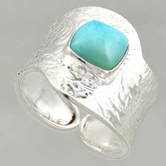 3.16cts natural blue larimar silver solitaire adjustable ring size 8.5 r16389