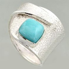 3.16cts natural blue larimar 925 silver solitaire adjustable ring size 7 r16390
