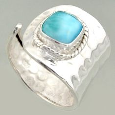 3.25cts natural blue larimar silver solitaire adjustable ring size 8.5 r16391