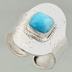 3.29cts natural blue larimar silver solitaire adjustable ring size 9.5 r16392