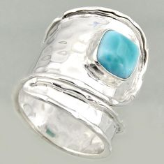 3.13cts natural larimar 925 silver solitaire adjustable ring size 7.5 r16393