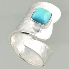 925 silver 3.53cts natural blue larimar solitaire adjustable ring size 8 r16394