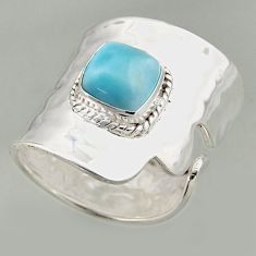 3.13cts natural blue larimar silver solitaire adjustable ring size 8.5 r16395