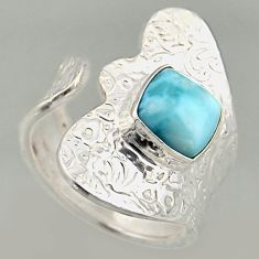 3.40cts natural blue larimar 925 silver solitaire adjustable ring size 8 r16396