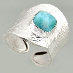 925 silver 3.41cts natural blue larimar solitaire adjustable ring size 7 r16398