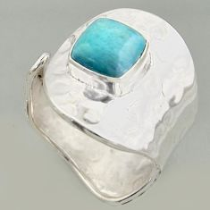 3.36cts natural blue larimar silver solitaire adjustable ring size 8.5 r16399