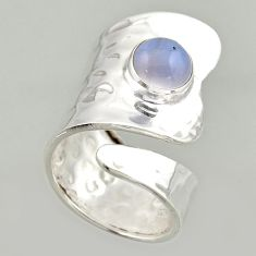 3.53cts natural lace agate 925 silver solitaire adjustable ring size 8 r16402