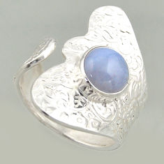 925 silver 3.35cts natural lace agate solitaire adjustable ring size 8.5 r16408